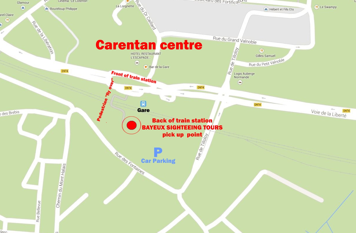 Carentan map pick up point DDay tours in Normandy